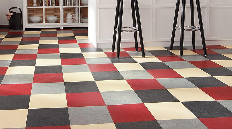 Red vinyl tile flooring
